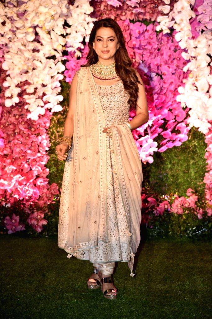 Actress Juhi Chawla at the wedding reception of Akash Ambani and Shloka Mehta in Mumbai on March 10, 2019. - Juhi Chawla, Akash Ambani and Shloka Mehta