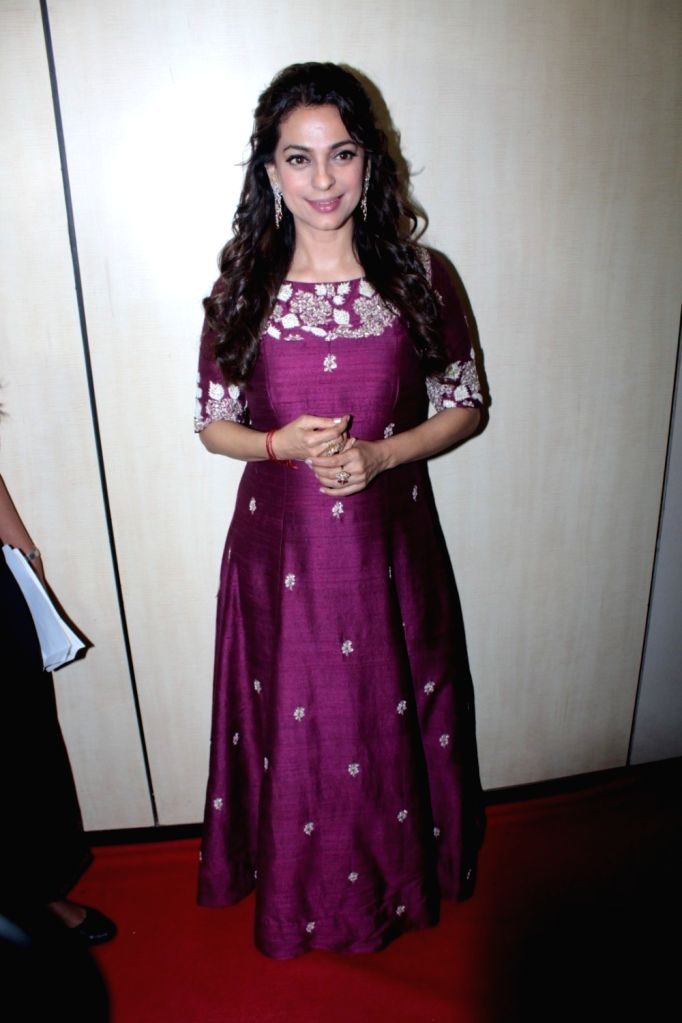 Actress Juhi Chawla during the Dada Saheb Phalke Academy Awards 2017 in Mumbai on June 1, 2017. - Juhi Chawla