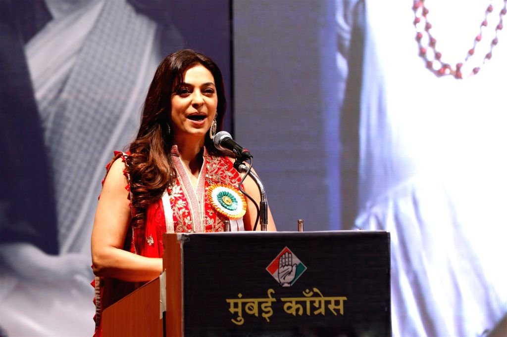 Actress Juhi Chawla during the Indira Gandhi Memorial Award on the occasion of former Prime Minister Indira Gandhi`s 98th birth anniversary in Mumbai, on Nov 19, 2015.