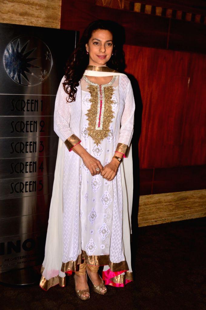Actress Juhi Chawla during the Screening of film Chalk N Duster in Mumbai. - Juhi Chawla
