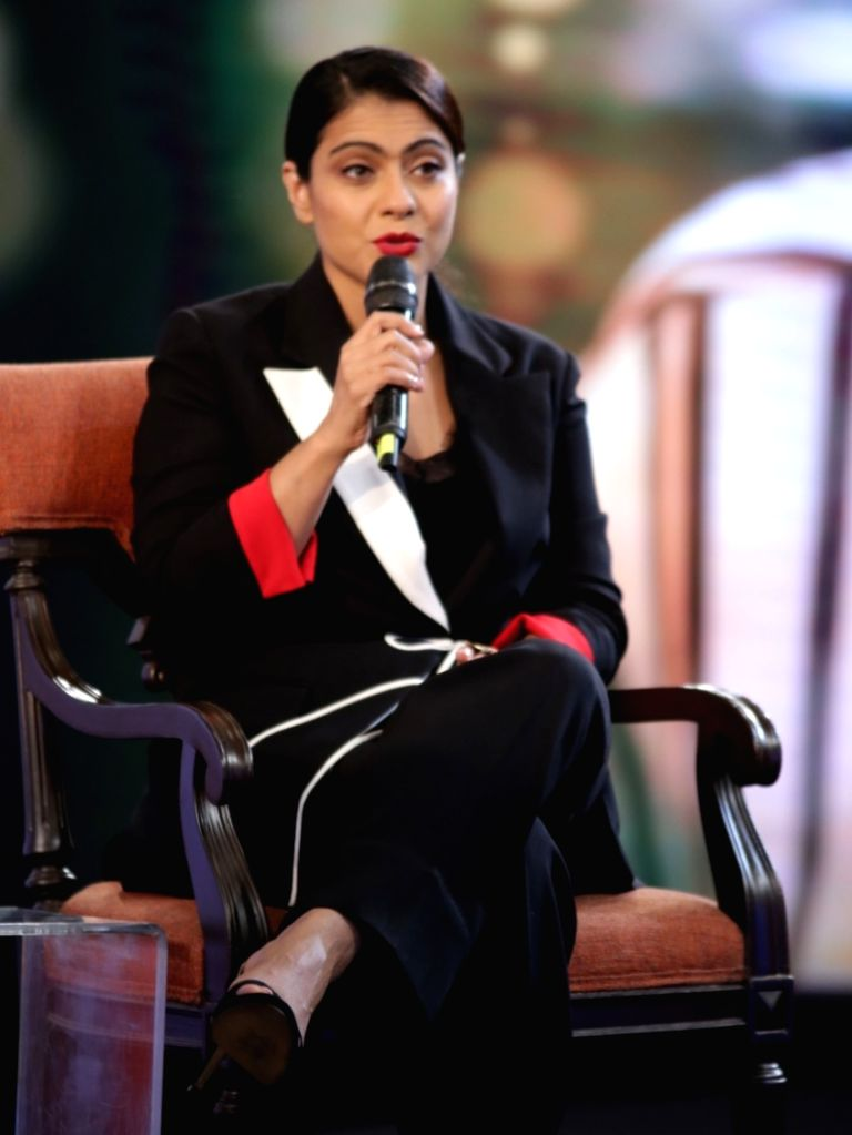 """Actress Kajol addresses during """"NDTV Yuva 2018"""", in New Delhi on Sept 16, 2018. - Kajol"""