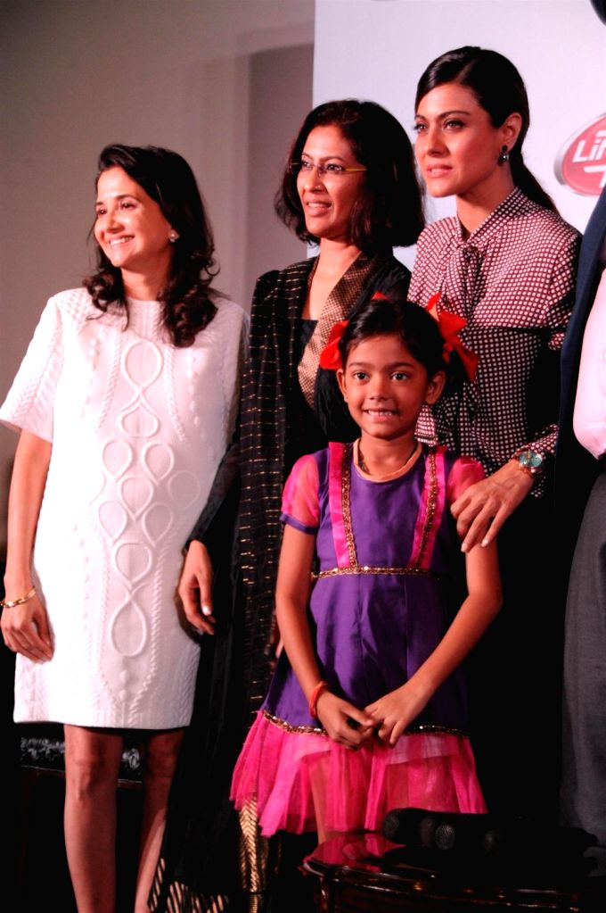 Actress Kajol and brand ambassador of Help a Child Reach 5 during the launch of film Future Child, in Mumbai on Oct 29, 2015.