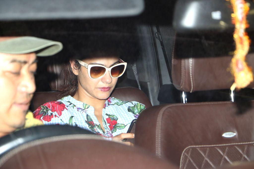 Actress Kajol at Chhatrapati Shivaji International Airport in Mumbai, on July 2, 2017. - Kajol
