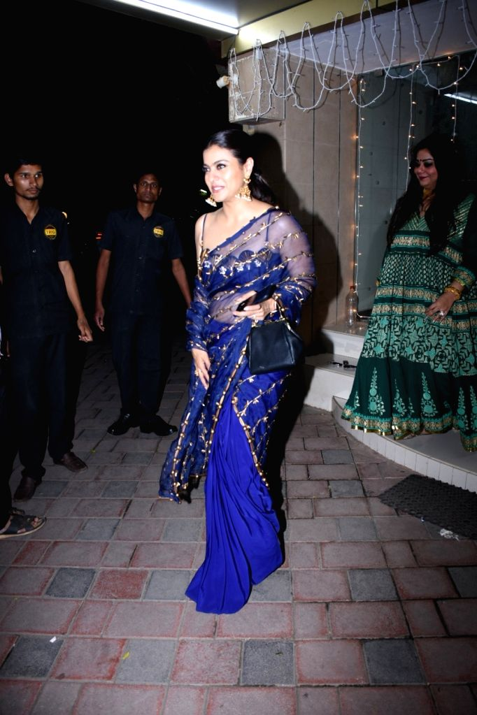 Actress Kajol at make-up artiste Mallika Bhat's Diwali bash in Mumbai on Oct 25, 2019. - Kajol