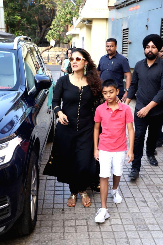 "Actress Kajol Devgn with her son Yug Devgn at the special screening of her upcoming film ""Tanhaji: The Unsung Warrior"" in Mumbai on Jan 9, 2020. - Kajol Devgn"