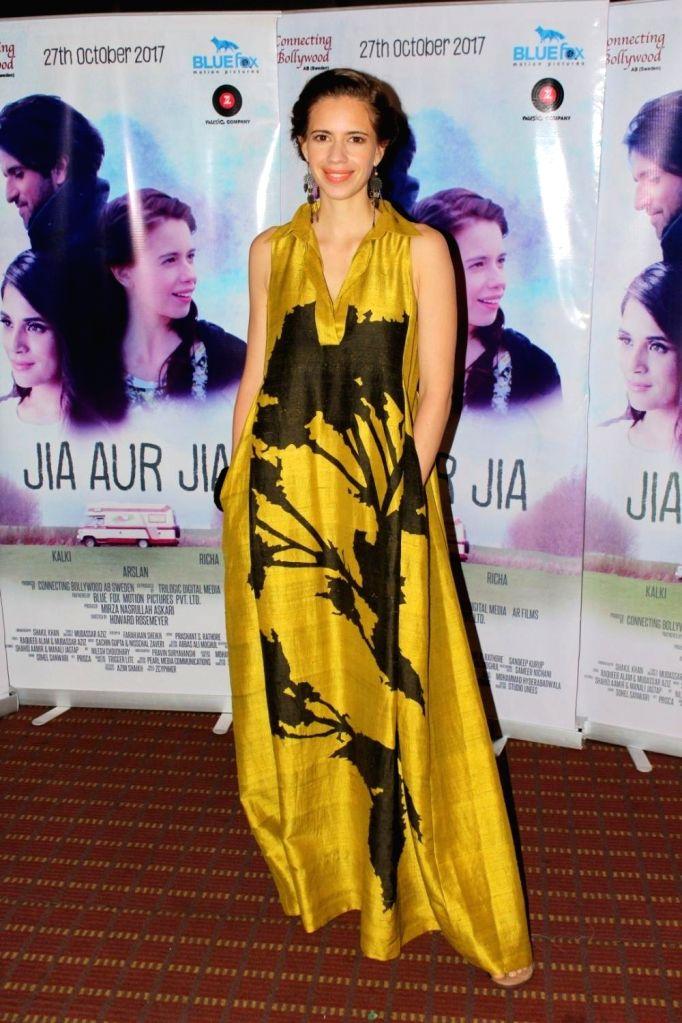"Actress Kalki Koechlin during the promotion of her upcoming film ""Jia Aur Jia"" in Mumbai on Oct 12, 2017. - Kalki Koechlin"