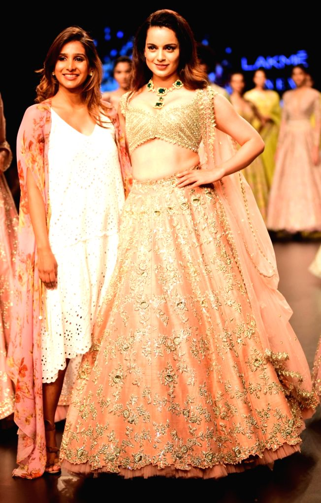 Actress Kangana Ranaut along with fashion designer Anushree Reddy during Lakme Fashion Week (LFW) Summer/Resort 2019 in Mumbai on Feb. 2, 2019. - Kangana Ranaut and Anushree Reddy