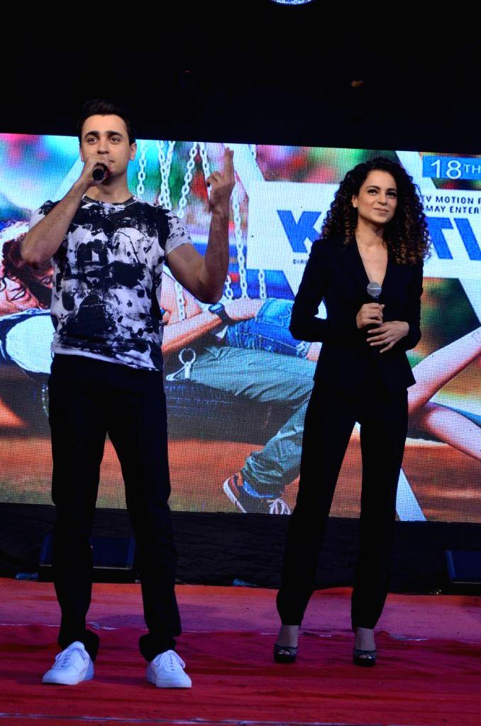 Actress Kangana Ranaut and actor Imran Khan during the promotion of film Katti Batti at the college festival Umang 2015, in Mumbai, on Aug 17, 2015. - Kangana Ranaut and Imran Khan