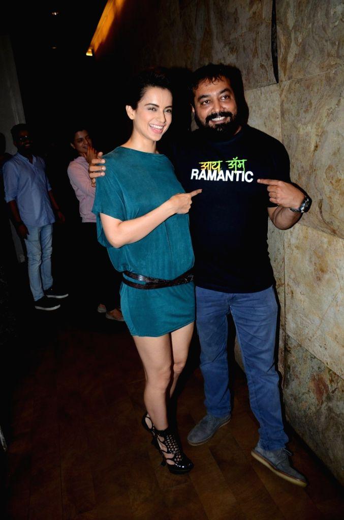 Actress Kangana Ranaut and filmmaker Anurag Kashyap during the special screening of film Raman Raghav 2.0 in Mumbai on June 22, 2016. - Kangana Ranaut and Anurag Kashyap