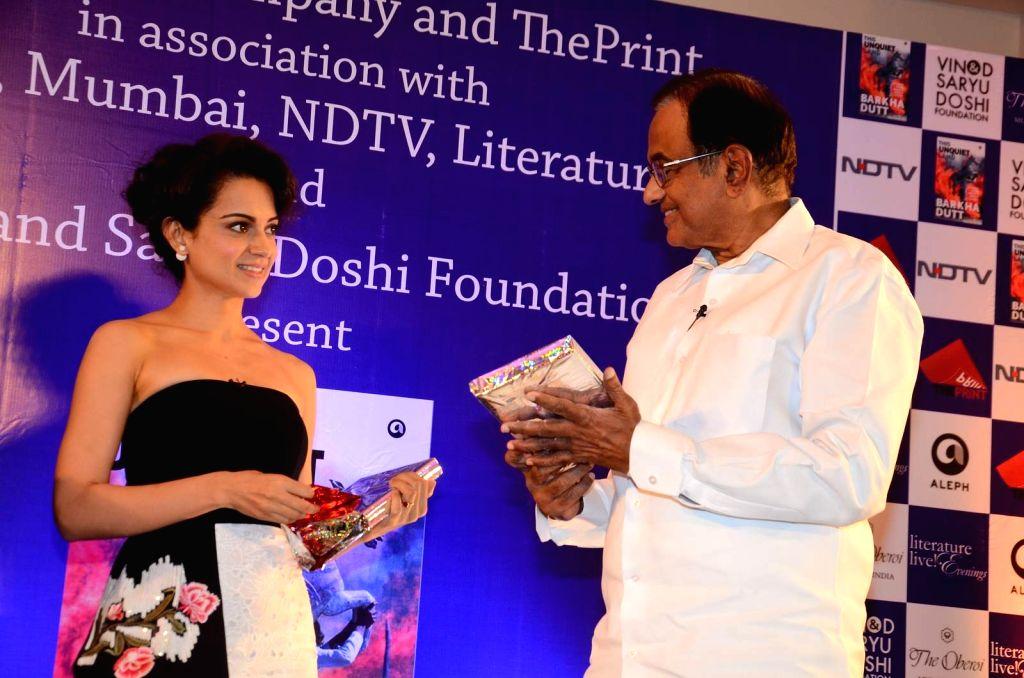 Actress Kangana Ranaut and Former Finance Minister P Chidambaram during the launch of Barkha Dutt`s book, This Unquiet Land, on Jan 14, 2016. - Kangana Ranaut