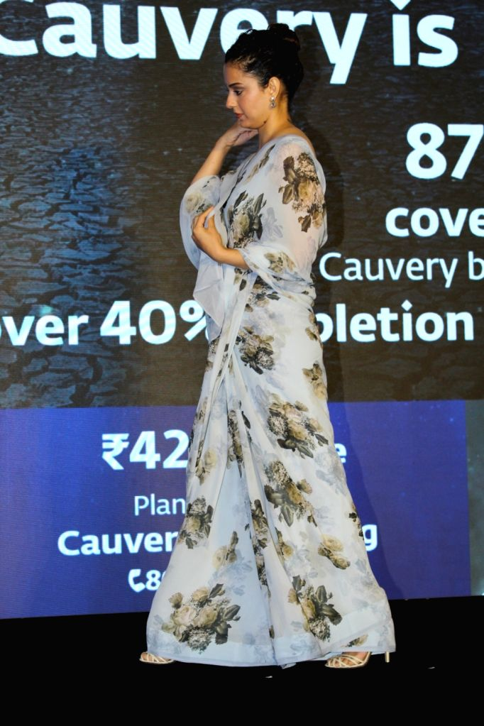 "Actress Kangana Ranaut at ""Cauvery Calling"" campaign in Mumbai, on Sep 5, 2019. - Kangana Ranaut"