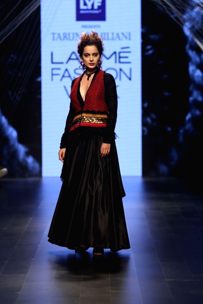Actress Kangana Ranaut display the creation of fashion designer Tarun Tahiliani during the Lakme Fashion Week Winter Festive 2016, in Mumbai, on Aug 23, 2016. - Kangana Ranaut