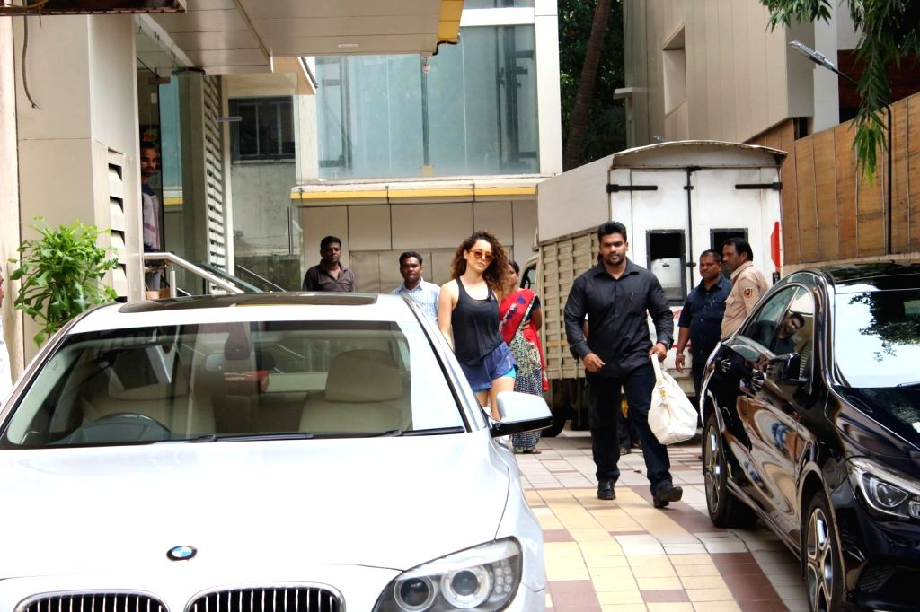 Actress Kangana Ranaut leaves after a sword fighting training at a studio in Mumbai on Oct 10, 2017. - Kangana Ranaut