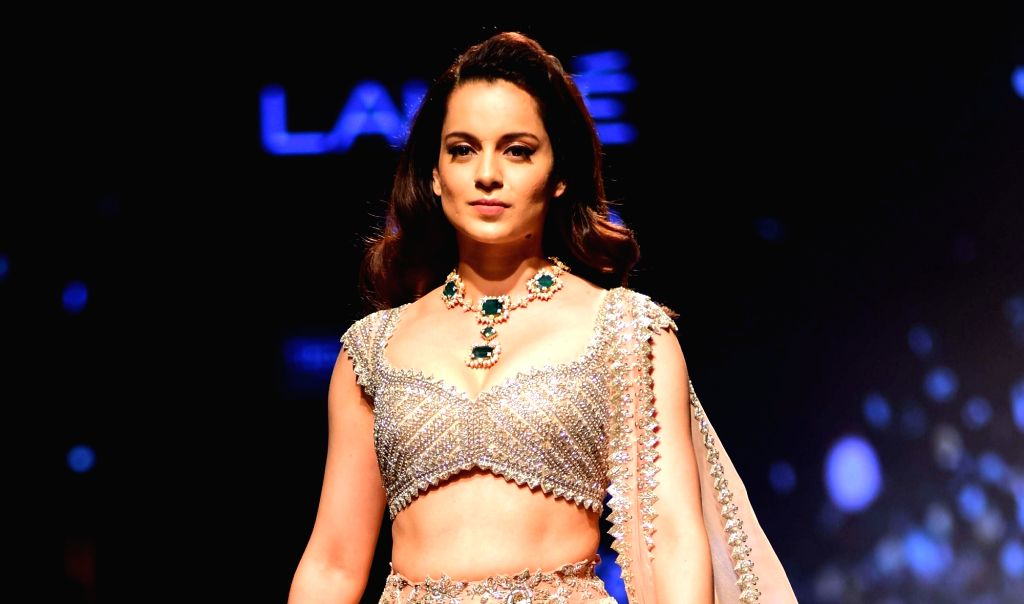 Actress Kangana Ranaut showcases fashion designer Anushree Reddy's creation during Lakme Fashion Week (LFW) Summer/Resort 2019 in Mumbai on Feb. 2, 2019. - Kangana Ranaut and Anushree Reddy