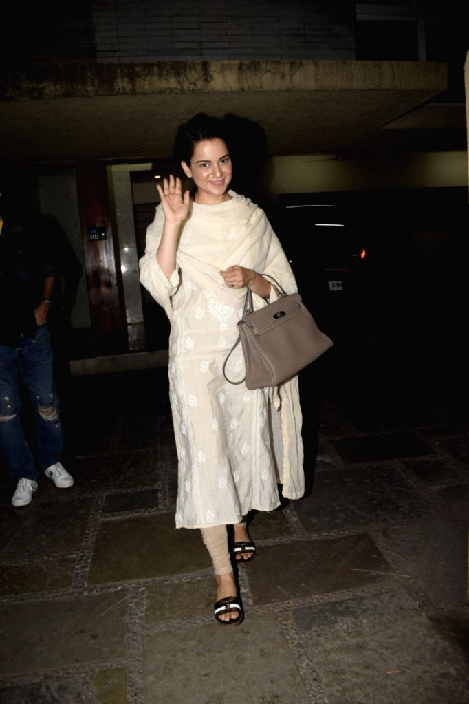 Actress Kangana Ranaut spotted at producer Kamal Jain's office in Juhu on Nov 4, 2018. - Kangana Ranaut and Kamal Jain