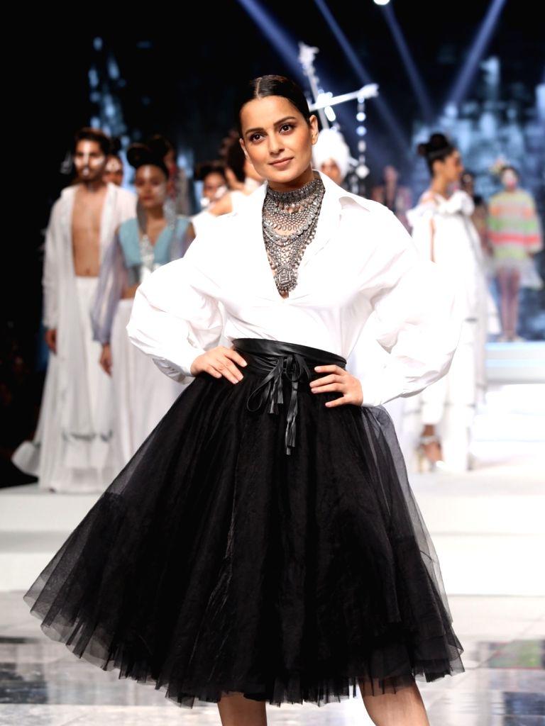 Actress Kangana Ranaut walks the ramp Grand finale of India Fashion Week, in New Delhi on Oct 12, 2019. - Kangana Ranaut