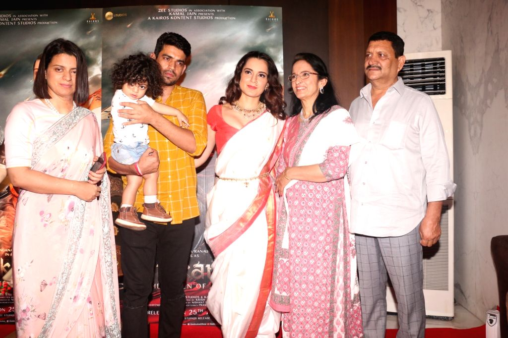 Actress Kangana Ranaut with her family at the success party of her film 'Manikarnika: The Queen Of Jhansi', in Mumbai, on March 3, 2019. - Kangana Ranaut