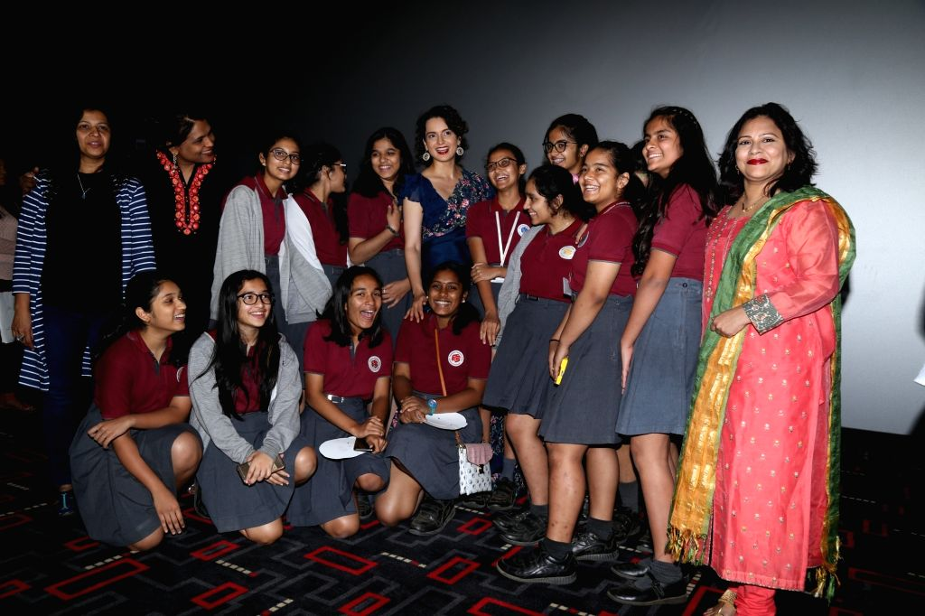 "Actress Kangana Ranaut with school students during the special screening of her movie ""Manikarnika: The Queen of Jhansi"" in Mumbai, on Feb 7, 2019. - Kangana Ranaut"