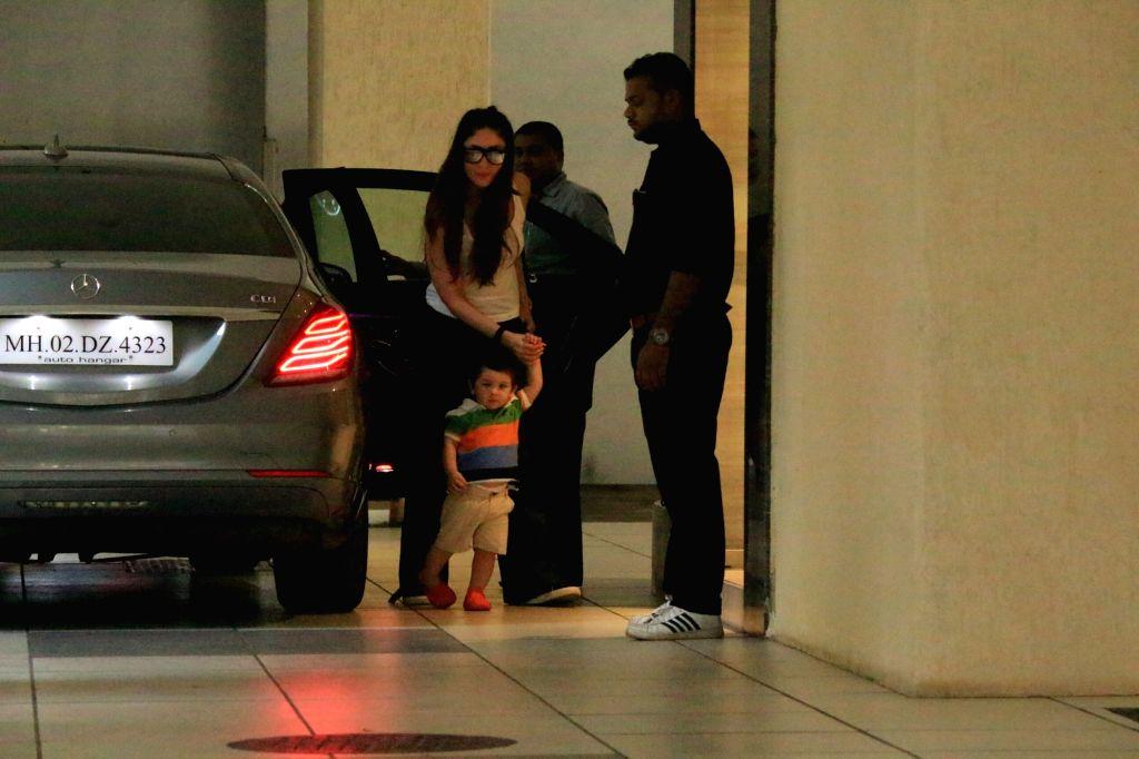 Actress Kareena Kapoor Khan along with her son Taimur seen at her mother's residence in Mumbai on May 31, 2018. - Kareena Kapoor Khan
