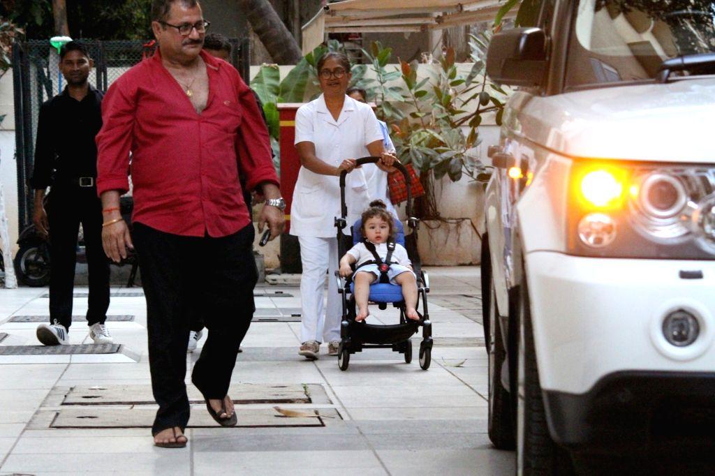 Actress Kareena Kapoor Khan's son Taimur seen at his grandmother's residence in Mumbai on May 22, 2018. - Kareena Kapoor Khan