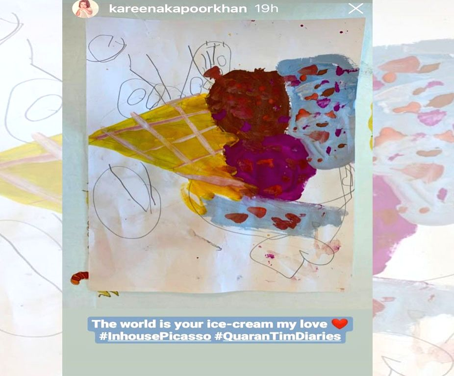 "Actress Kareena Kapoor Khan shared a drawing made by her toddler son Taimur Ali Khan, whom she lovingly tagged as the ""in-house Picasso"". Kareena took to her Instagram stories, where she shared a glimpse of what Taimur is up to while he stays home. T - Kareena Kapoor Khan and Taimur Ali Khan"