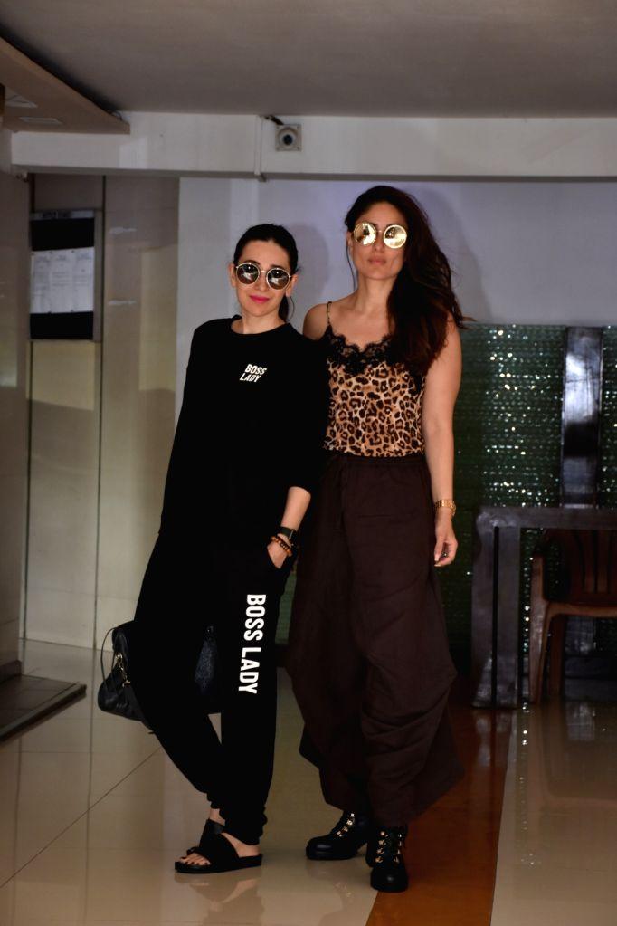 Actress Kareena Kapoor Khan with her sister Karisma Kapoor at celebrity stylist Esha Amiin's birthday bash in Mumbai, on March 3, 2019. - Kareena Kapoor Khan and Karisma Kapoor