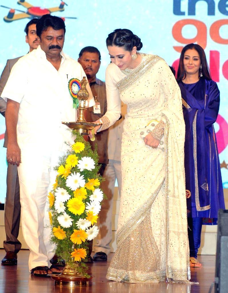 Actress Karishma Kapoor during the 19th The Golden Elephant International Children`s Film Festival (ICFFI) in Hyderabad on November 15, 2015. - Karishma Kapoor
