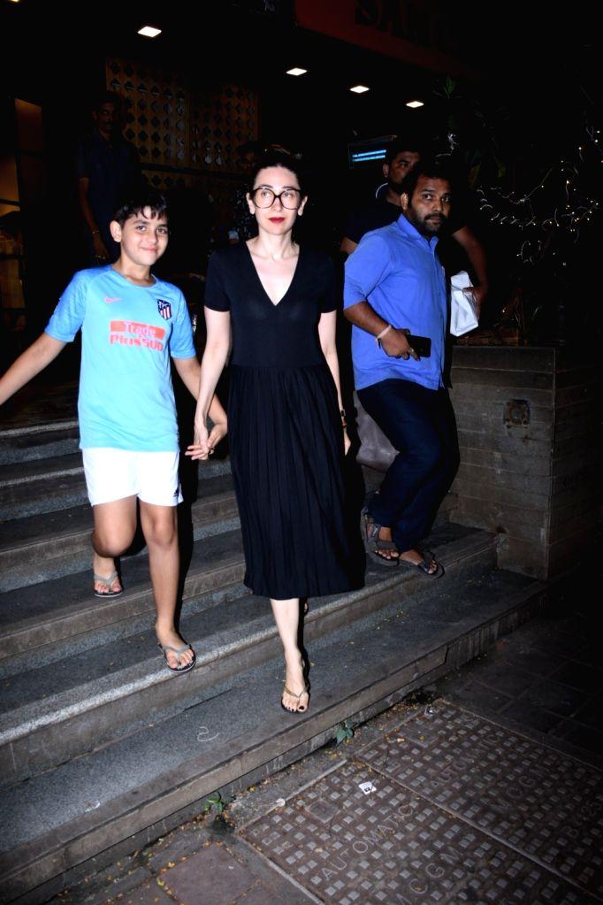 Actress Karisma Kapoor and her son Kiaan Raj Kapoor seen at Bandra in Mumbai on Nov 14, 2019. - Karisma Kapoor and Kiaan Raj Kapoor