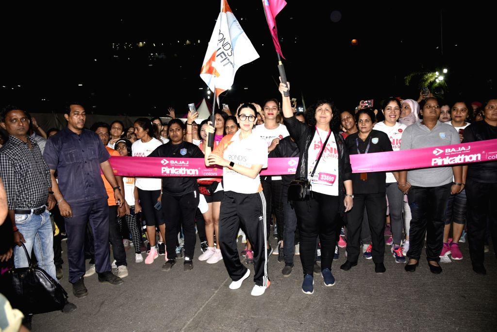 Actress Karisma Kapoor flag off Pinkathon, in Mumbai on Dec 15, 2019. - Karisma Kapoor