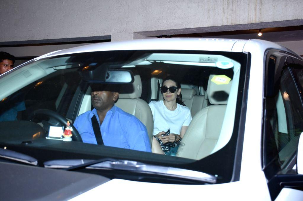 Actress Karisma Kapoor seen at the residence of her actress sister Kareena Kapoor at Bandra in Mumbai on Oct 11, 2019. - Karisma Kapoor and Kareena Kapoor