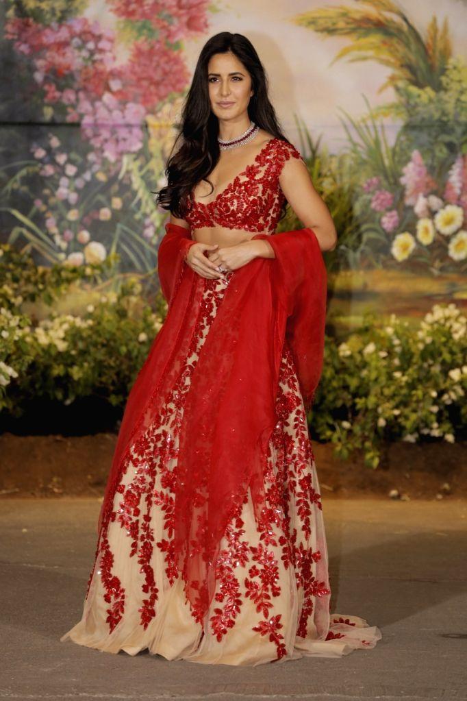 Actress Katrina Kaif at the wedding reception of actress Sonam Kapoor and businessman Anand Ahuja in Mumbai on May 8, 2018. - Katrina Kaif and Sonam Kapoor