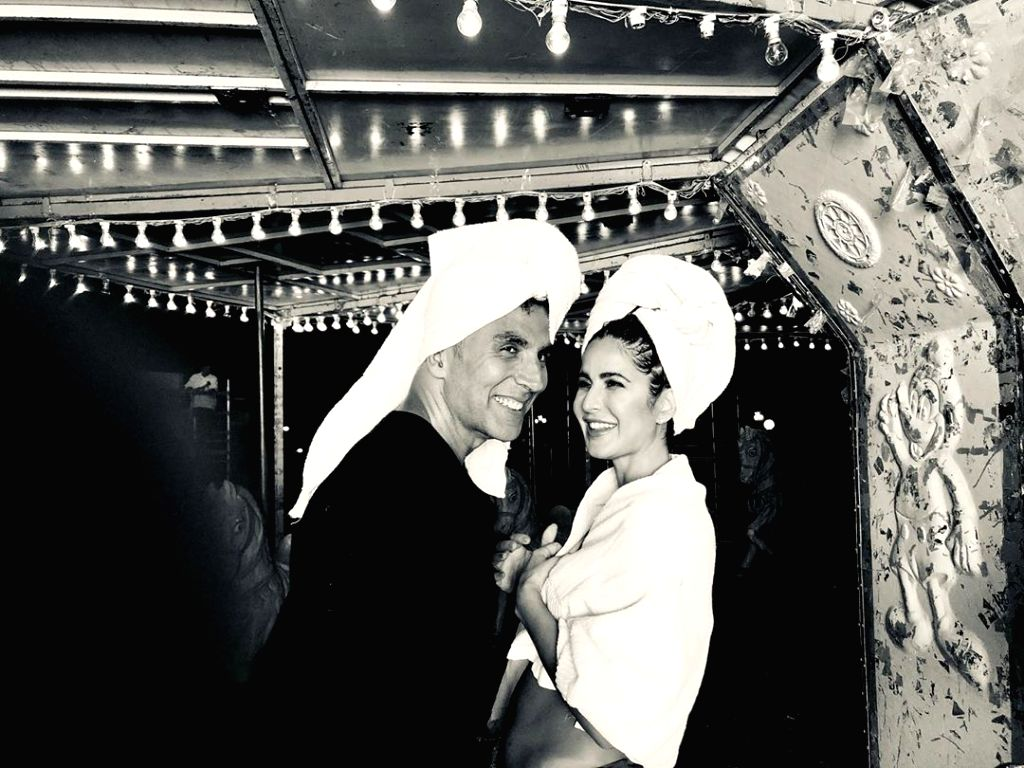 """Actress Katrina Kaif gave fans a sneak peek into the making of the recreated version of the song """"Tip tip barsa pani"""" from the upcoming film """"Sooryavanshi"""". Katrina on Tuesday posted a photograph of herself along with actor Akshay Kumar. In the image - Katrina Kaif and Akshay Kumar"""