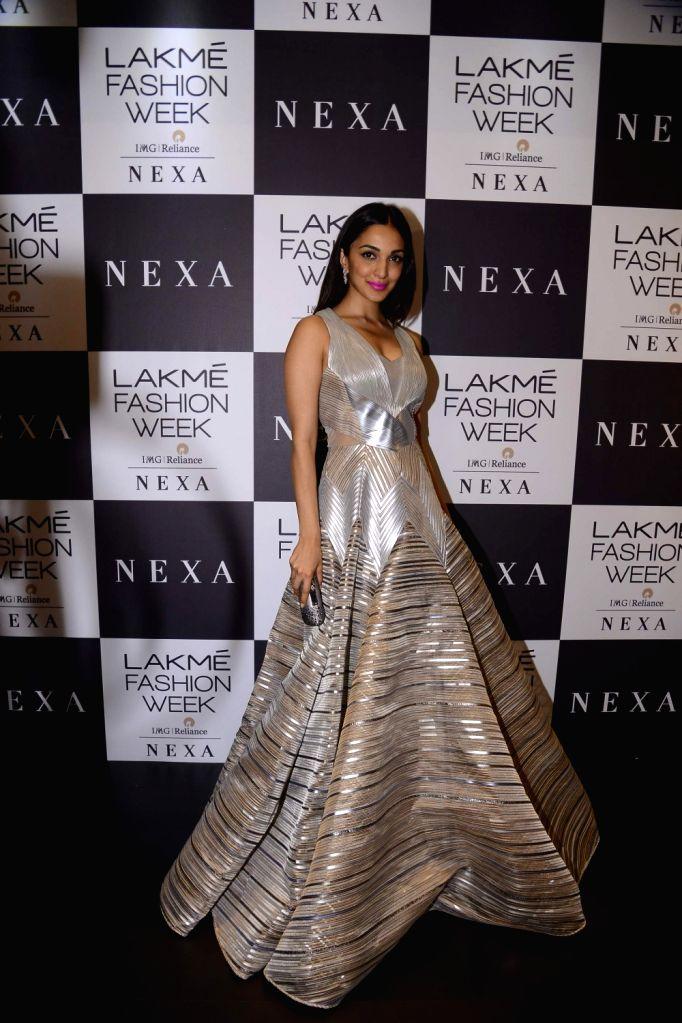 Actress Kiara Advani during the Lakme Fashion Week Winter/Festive 2017 in Mumbai on Aug 18, 2017. - Kiara Advani