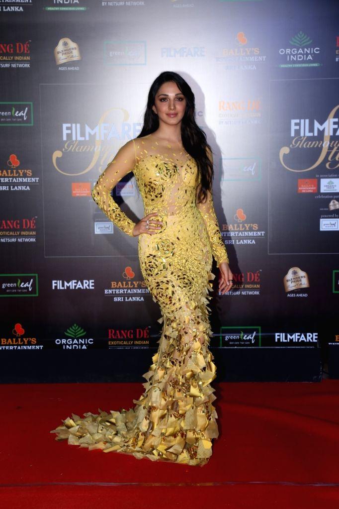 Actress Kiara Advani on the red carpet of Filmfare Glamour And Style Awards 2019 in Mumbai on Dec 3, 2019. - Kiara Advani