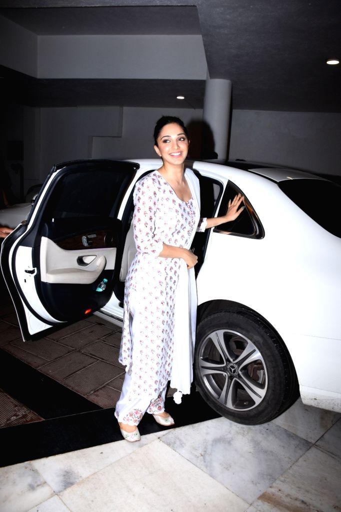 Actress Kiara Advani seen outside fashion designer Manish Malhotra's house in Mumbai, on July 16, 2019. - Kiara Advani and Manish Malhotra
