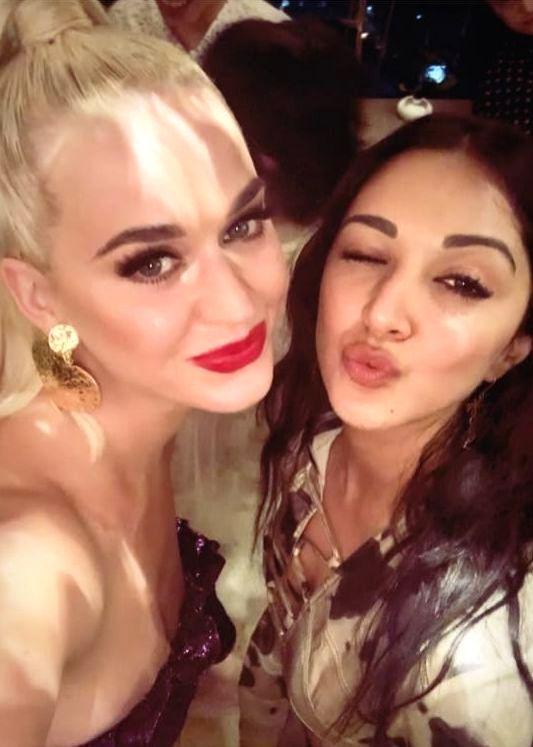 Actress Kiara Advani with pop singer Katy Perry at a party hosted by filmmaker Karan Johar at his residence. - Kiara Advani and Karan Johar