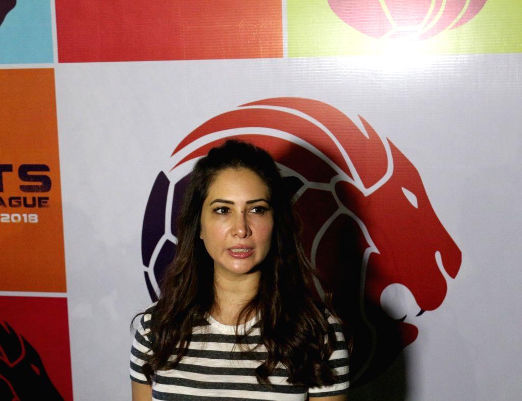 Actress Kim Sharma during Roots Premier League 2018 in Mumbai on Sept 8, 2018. - Kim Sharma
