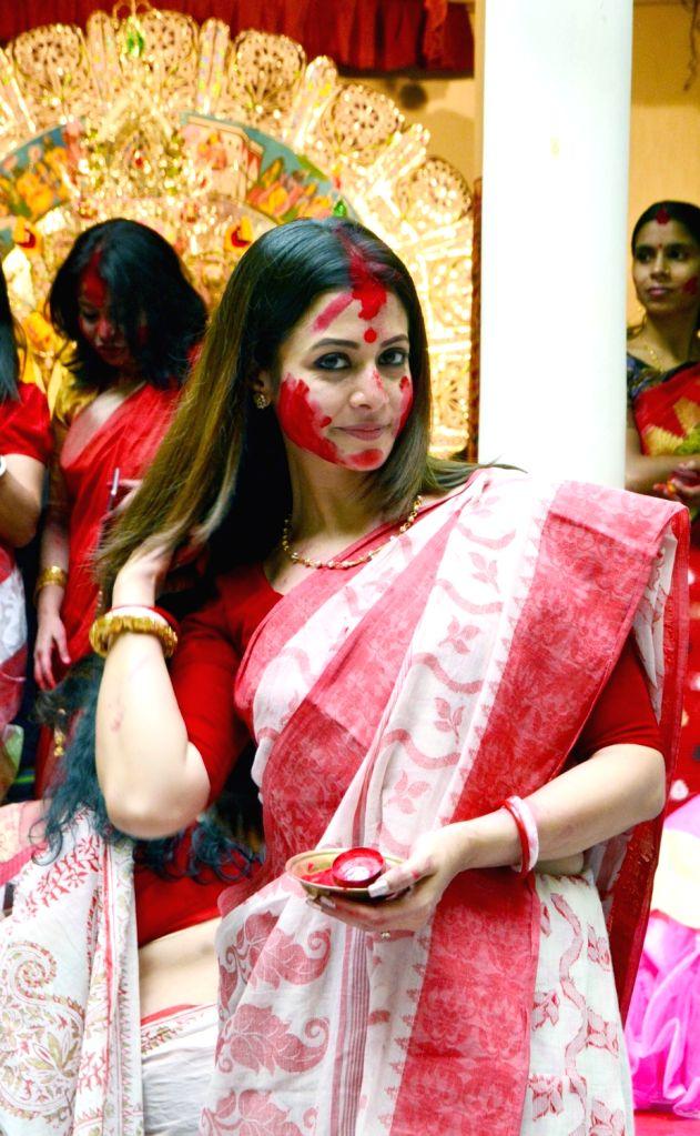 Actress Koel Mallick participates in 'Sindoor Khela' on Vijaya Dashmi - the tenth day of Durga Puja in Kolkata on Oct 19, 2018. - Koel Mallick