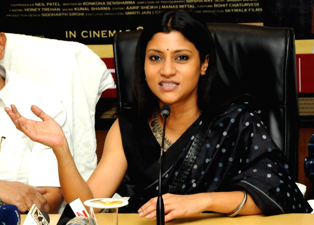 Actress Konkona Sen Sharma addresses a press conference in Ranchi on May 21, 2017. - Konkona Sen Sharma