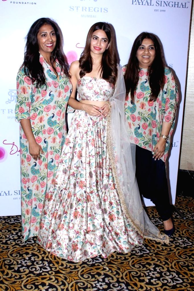Actress Kriti Kharbanda, Desai Foundation President Megha Desai and Fashion Designer Payal Singhal at the preview of Payal Singhal's Collection 2017 in Mumbai on Sept 1, 2017. - Kriti Kharbanda and Megha Desai
