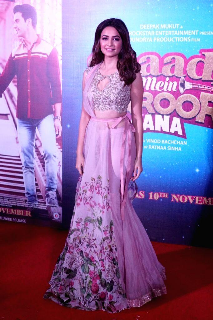 "Actress Kriti Kharbanda during the trailer launch of their upcoming film ""Shaadi Mein Zaroor Aana"" in Mumbai on Oct 10, 2017. - Kriti Kharbanda"
