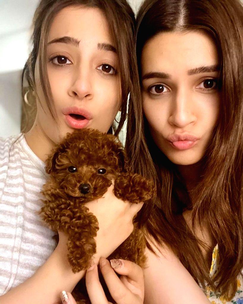 Actress Kriti Sanon and her sister Nupur Sanon with the puppy. - Kriti Sanon