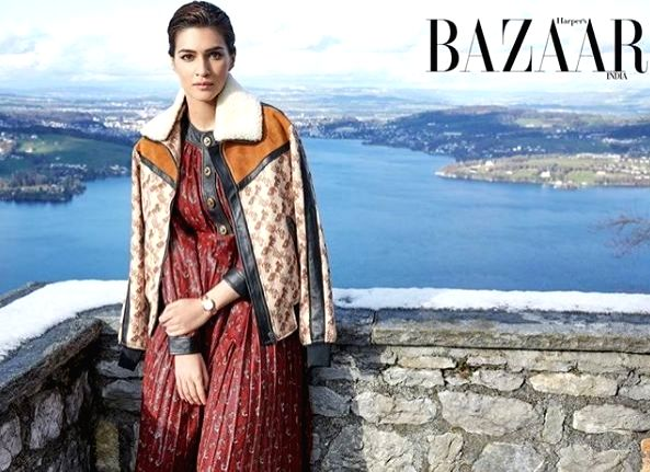 Actress Kriti Sanon's latest photoshoot for Harper's Bazaar India has left fans in awe of her fashion statement. Dressed in cosy jackets, Kriti can be seen standing alongside the scenic locations of Switzerland. - Kriti Sano