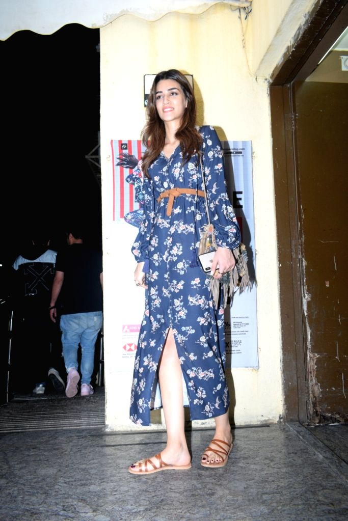 Actress Kriti Sanon seen at a Mumbai cinema hall on Aug 8, 2019. - Kriti Sanon