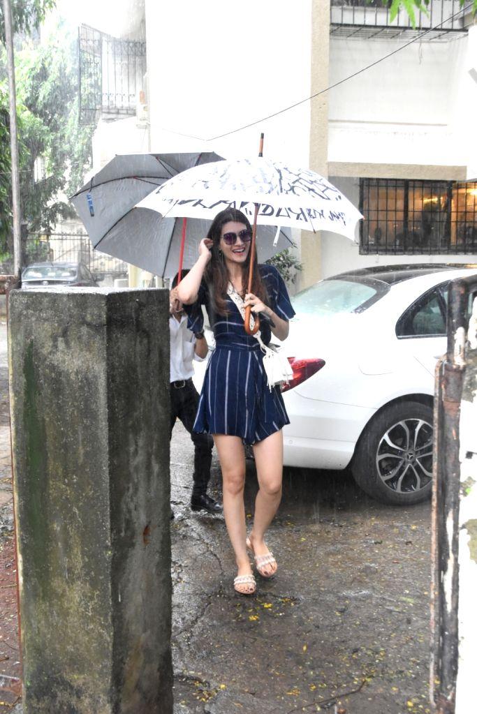 Actress Kriti Sanon seen at a Mumbai salon on Aug 11, 2019. - Kriti Sanon