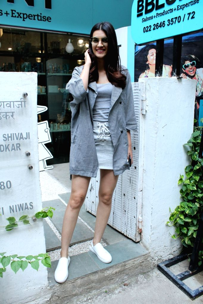 Actress Kriti Sanon seen at a salon in Mumbai's Bandra, on April 26, 2019. - Kriti Sanon