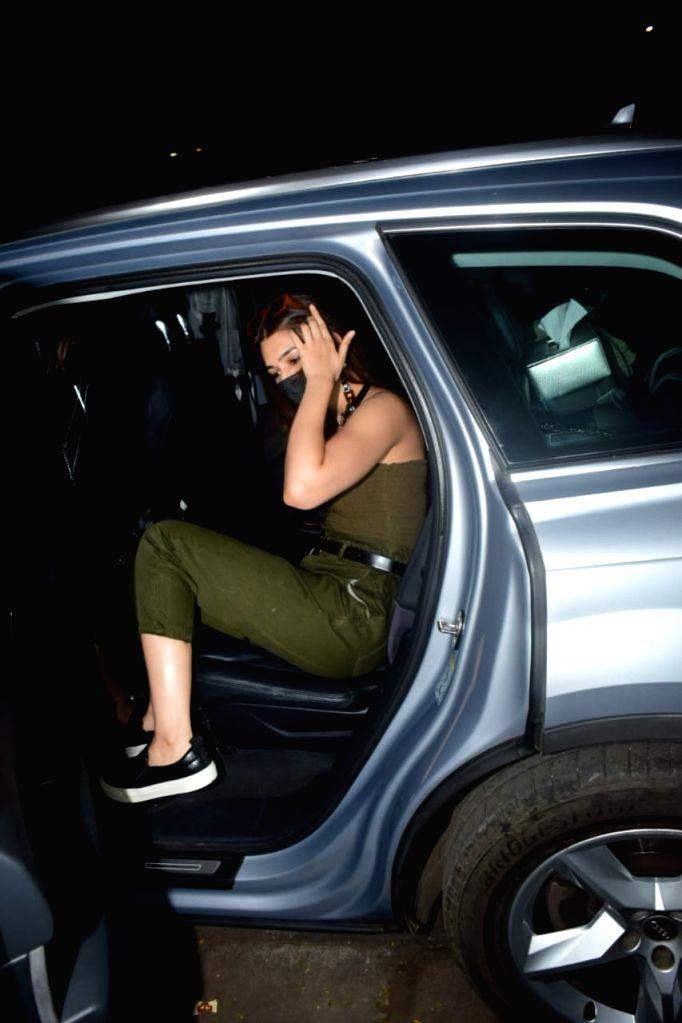 Actress Kriti Sanon seen at Juhu in Mumbai on Oct 20, 2020. - Kriti Sanon