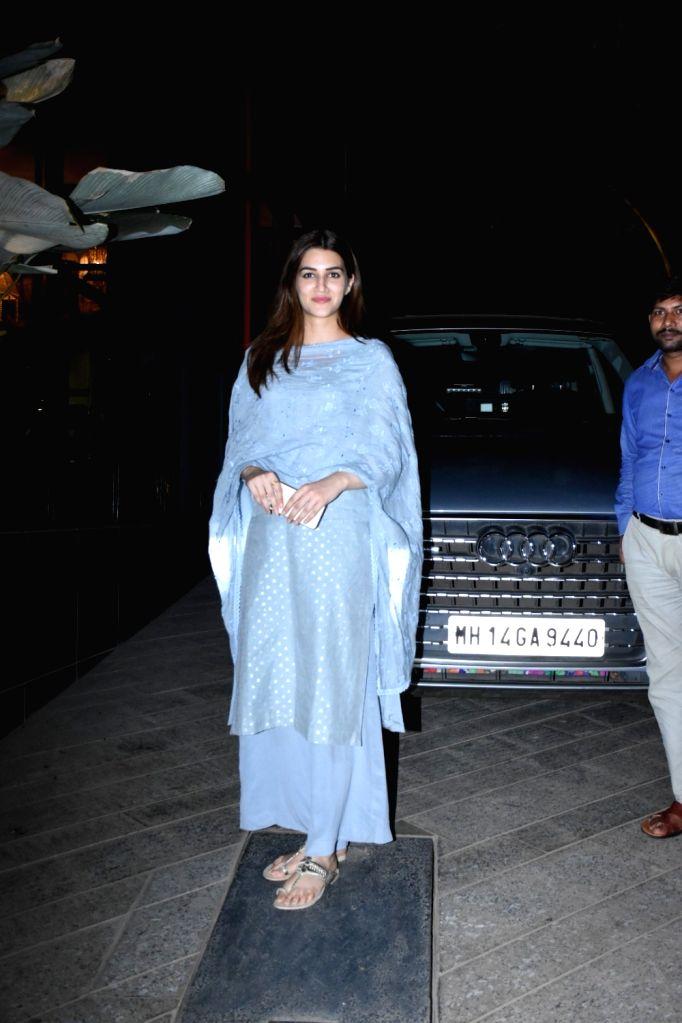 Actress Kriti Sanon seen at the office of Maddock Films in Mumbai on Jan 24, 2020. - Kriti Sanon