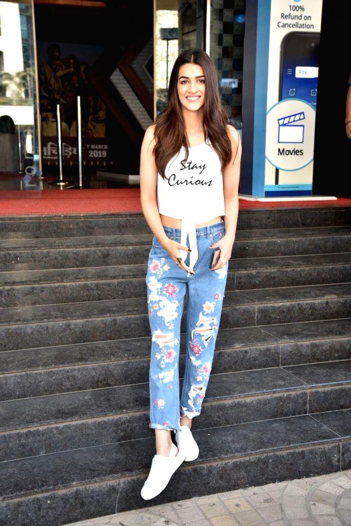"Actress Kriti Sanon visits a cinema hall screening her film ""Luka Chuppi"" in Mumbai on MArch 2, 2019. - Kriti Sanon"