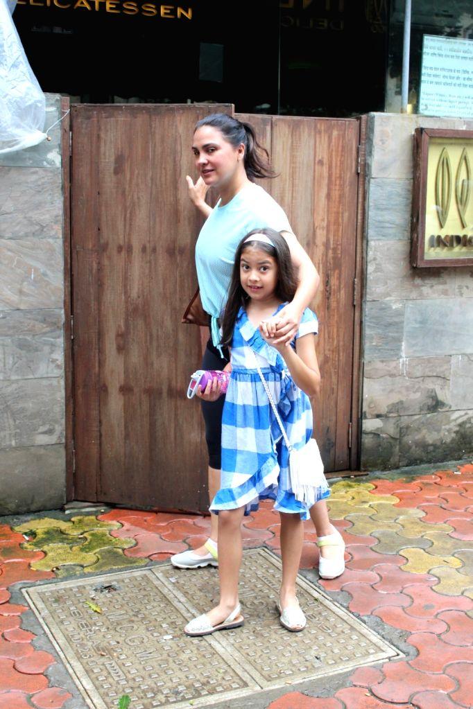 Actress Lara Dutta and her daughter Saira Bhupathi seen at a restaurant at Bandra in Mumbai on Aug 10, 2019. - Lara Dutta